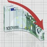 Graph euro fall. Abstract graph concept falling euro to finance market Royalty Free Stock Photography