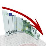 Graph euro round corner. Abstract graph concept falling euro to finance market Stock Photos
