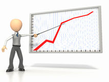 Graph Explanation. Businessman using pointer to explain graph on white background. Clipping path included Stock Image