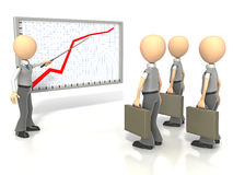 Graph Explanation Team. Businessman using pointer for presentation of graph to group on white background. Clipping path included Stock Photos