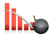 Graph explosive fall illustration Royalty Free Stock Photo