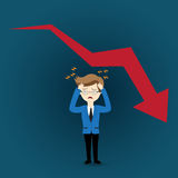 Graph falling down. Business man in crisis of graph falling down Stock Photography