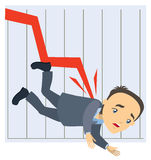 Graph falls down Stock Image