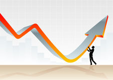 Graph Financial Recovery. Conceptual illustration of a businessman resisting downward trend and bend upward growth Stock Image