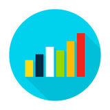 Graph Flat Circle Icon. Graph Icon. Vector Illustration Flat Style Circle Item with Long Shadow. Data Analysis Stock Photos