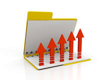 Graph in folder. Red graph in open fiolder Royalty Free Stock Image