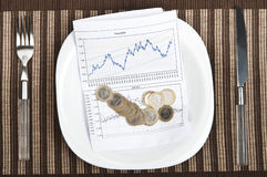 Graph on food plate Stock Photo