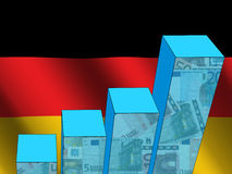 Graph with German flag Royalty Free Stock Photo
