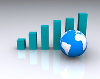Graph and globe Stock Photo