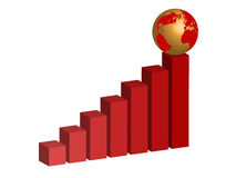Graph with globo Royalty Free Stock Photos