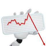 Graph going down. 3d robotic hand hold a plate with graph Stock Photos