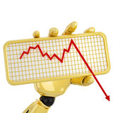 Graph going down. Gold robotic hand hold a plate with graph. Including clipping path Royalty Free Stock Photos