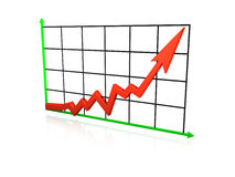 Graph going up. An isolated line graph going up on white background Royalty Free Stock Image