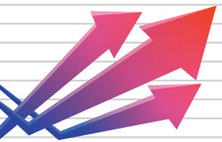 Graph going up positive trend arrows business diagram Royalty Free Stock Photography