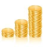 Graph of gold coins Stock Photos