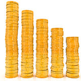 Graph of gold coins Royalty Free Stock Photography