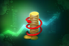 Graph with gold coins Stock Images