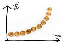 Graph of gold coins showing value. Hand drawn graph of the price of gold over time using golden eagle coins as the graph line stock photo