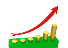 Graph of gold coins. Symbolic graph of gold coins and red arrow. 3D rendering Royalty Free Stock Photography