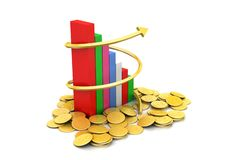 Graph with gold coins Royalty Free Stock Images
