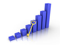 Graph with golden key Stock Photography