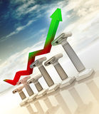 Graph on greek columns diagram Royalty Free Stock Images