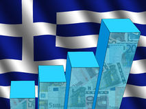 Graph with Greek flag Royalty Free Stock Images