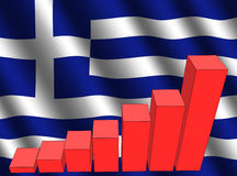 Graph and Greek flag Royalty Free Stock Photography