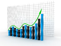 Graph with green arrow №1 Stock Photo