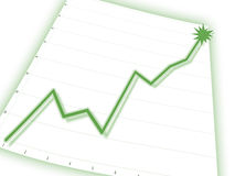 Graph. Green graph on business chart Stock Photography