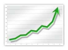 Graph. Green graph on business chart (upward Royalty Free Stock Images