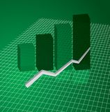 Graph grid green. A graph in green for business use to show increase Stock Photo