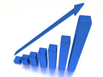 Graph with the growing progress and arrow Royalty Free Stock Images