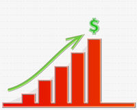 Graph growing to the top for money Royalty Free Stock Image