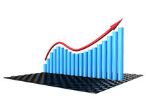 Graph the growth of the blue cylinder №1 Royalty Free Stock Images