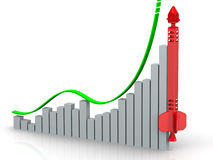 Graph of growth. Concept. Graph of rapid growth with conceptual red rocket. Financial concept Royalty Free Stock Photos