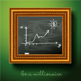 Graph of growth draw chalk on board Royalty Free Stock Photo