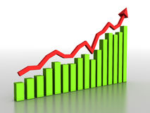 The graph of growth of the green boxes №2 Royalty Free Stock Photos