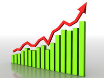 The graph of growth of the green boxes №3 Stock Image