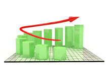 The graph of growth of the green hexagonal №1 Royalty Free Stock Photos