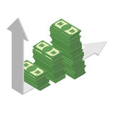 Graph growth income. Sales growth. A bunch of cash. Piles of dol Royalty Free Stock Photos