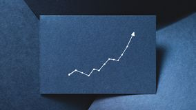 Graph growth increase progress blue paper backdrop. Exponential graph on blue layered paper backdrop. growth increase progress concept stock images