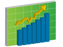 Graph of growth in investment Stock Image