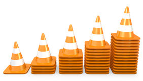 Graph of growth made of traffic cones Royalty Free Stock Photography
