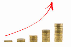 The graph of growth of the money. Red arrow up Royalty Free Stock Photo