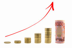 The graph of growth of the money. Red arrow up Royalty Free Stock Photography