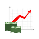 Graph growth money. Red up arrow. Increase in cash profit. Bundl Royalty Free Stock Photo