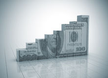 Graph growth money texture. Graph growth 3d render with dollar texture Stock Images