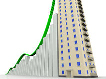 The graph of growth and the multi-storey residential house Stock Photos