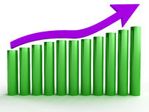 The graph of growth of purple and green arrow №1 Stock Photos